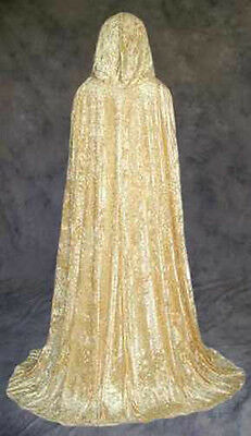 Gold Cape (Gold Velvet Cloak Cape Wedding Wicca Medieval LARP)