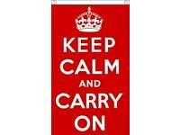 Keep Calm and Carry On 5x3 Flag WW2 British History Slogan