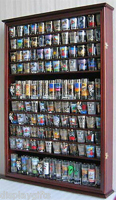 Shot Glass Display Case - LARGE, 144 Shot Glass Display Case Wall Holder Cabinet Shadow Box