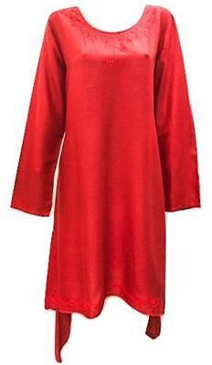 Übergröße Taschentuch Saum Bestickt U-Ausschnitt Tunika Kleid Rot 18/20