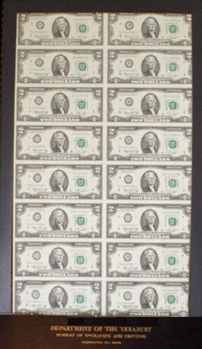 SIXTEEN 1976 TWO DOLLAR *STAR* CLEVELAND NOTES UNCUT CURRENCY DEPT OF TREASURY