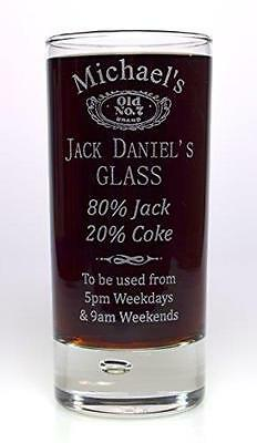 Personalised JACK DANIELS % Highball Glass Gift For 18th/21st/40th/Birthday/Dad