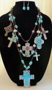 Turquoise Cross Necklace Silver