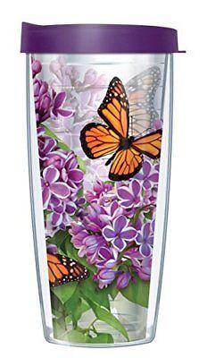 Monarch Butterflies Clear Wrap Traveler 16 Oz Tumbler Cup with Purple (16 Ounce Wrap Tumbler)