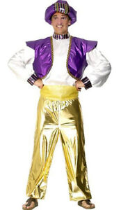 M/L Mens Genie Arabian Sultan Ali Baba Arab Aladdin Fancy Dress Costume & Turban