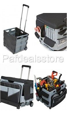 Box Utility Cart - Rolling Tool Box Cart Organizer Storage Travel Portable Cabinet Bag Utility Work