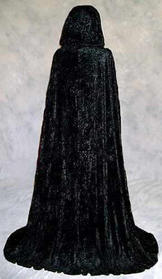 Unlined Black Velvet Cloak Renaissance Medieval Cosplay Cape LOTR LARP Star Wars