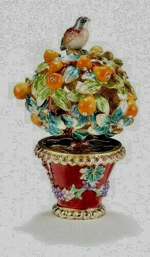 3452  PARTRIDGE IN A PEAR TREE ~ BEJEWELED TRINKET BOX