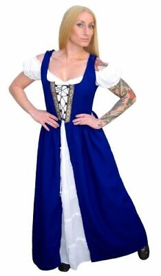 RENAISSANCE  MEDIEVAL PIRATE WENCH BELLE BEAUTY COSTUME IRISH OVER DRESS #Fd7-L