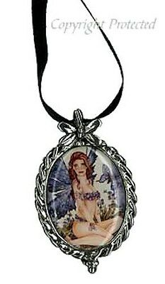 Marjolein Gulinski Forget Me Not Flower Fairy Pewter Cameo Necklace Blue Wings