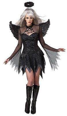 (Deluxe Fallen Angel Dark Gothic Black Halloween Fancy Dress Adult Costume, Large)