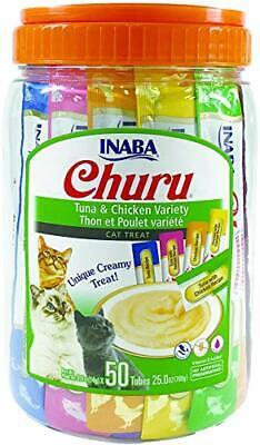 Churu Lickable Purée Natural Cat Treats (Tuna & Chicken Variety Pack, 50 Tubes)