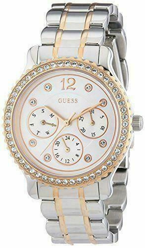 Guess Enchanting Silver Dial Two-tone Multifunction Crystal Ladies Watch W0305L3