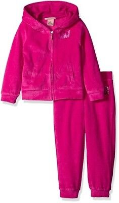 Juicy Couture Girls 2 Piece  Velour Hoodie & Pants Hot Pink Size -