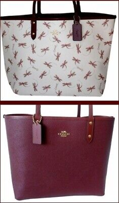 Coach Reversible Tote Dragonfly Print Chalk Wine City Tote Shoulder Bag F78729