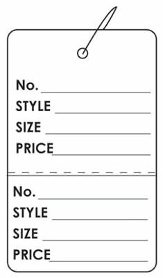 200 Or 100 Price Tags 2-part Merchandise Retail Sales Clothing Large Perforated
