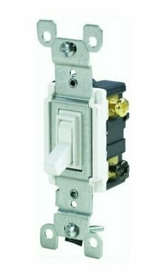 Leviton 1453-2WCP Grounded 3-Way Quiet Switch 120 Volts White Light Control NEW Lighted Quiet Switch