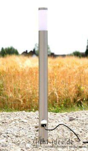 Edelstahl Standleuchte mit 2 Steckdosen Steckdose Garten lampe