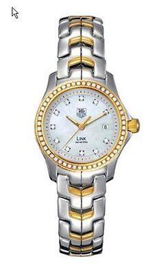 STUNNING TAG HEUER LINK WJF1354.BB0581 18K GOLD PEARL LADIES DIAMOND SWISS WATCH