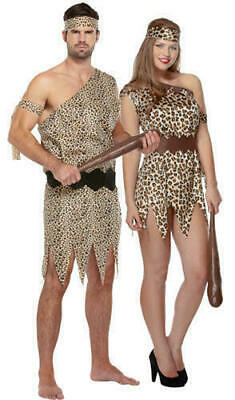 Adults Caveman Costume Mens Ladies Cave Girl Fancy Dress Women Flintstone Outfit (Mens Caveman Kostüm)