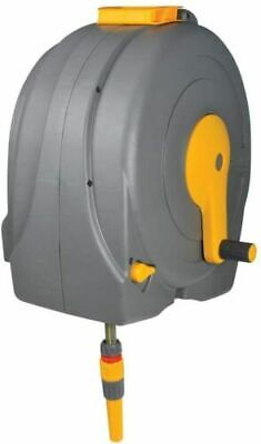 Hozelock 40 Meter Garden Hose Wall Mounted Fast Reel with Fittings and Self Wind