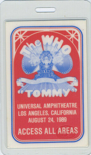 The WHO 1989 Tommy Laminated Backstage Pass