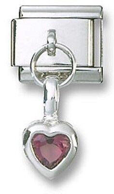 February Birthstone Heart - Italian Charm 925 Sterling Birthstone Heart Dangle CZ February Stainless Steel