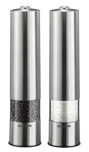 Salter Electric Brushed Stainless Steel Salt & Pepper Grinder Mill Set Pair 7522