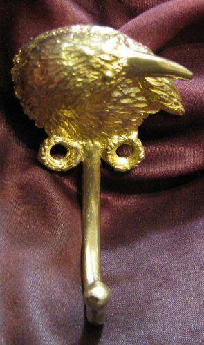RAVEN or CROW, CORVID J Hook, Robe Hook, Coat Hook, Leash Hook Bronze