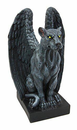 "Ebros Gift Winged Moon Eyed Jaguar Gargoyle Night Crawler Figurine 6.5"" Tall"
