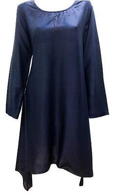 Übergröße Taschentuch Saum Bestickt U-Ausschnitt Tunika Kleid Blau 18/20
