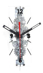 Large Clear Moving Gear Glass Cover Wall Clock Chrome Exposed Gears Decor Gift