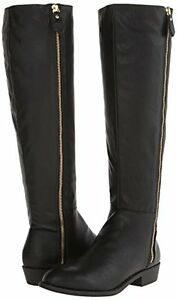 BRAND NEW PAIR OF FAUX BLACK LEATHER RIDING BOOTS SIZE 8