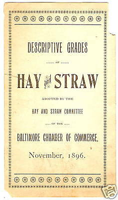 Farm Equipment Paper Baltimore Md Hay Straw Chart 1896