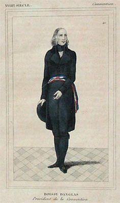 Alter kolorierter Stahlstich Portrait Boissy Danglas