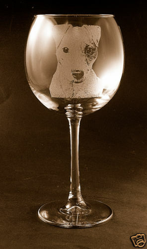 Etched Jack Russell Terrier on Elegant Wine Glasses - Set of 2