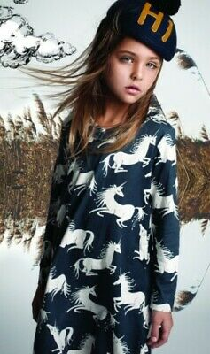 Paper Wings Kleid EINHORN blau NEU 116 122 152 reduziert Bio Baumwolle