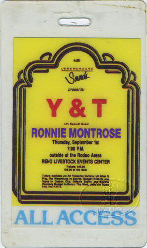 Y & T 1988 Tour Laminated Backstage Pass Ronnie Montrose