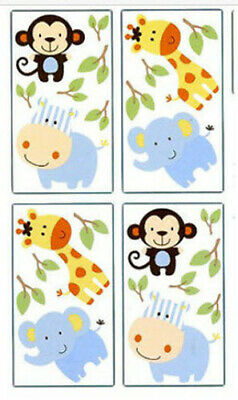 BABY ANIMALS wall stickers 24 decals ZOO SAFARI JUNGLE monkey elephant (Jungle Animals Wall Stickers)