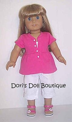 Doll Clothes fits American Girl * PINK TOP / SHIRT & WHITE CAPRIS * Free Ship! on Rummage