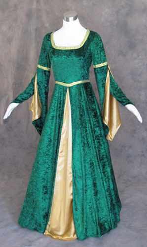 Size XS - Green Velvet Medieval Renaissance Cosplay Wench LARP Dress Costume