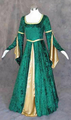 Green Velvet Medieval Renaissance Cosplay Wench Pirate LARP Dress Costume - Medieval Gown
