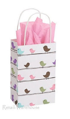 Paper Shopping 25 Bags Spring Birds Small Gift Retail 5 Wide X 3 X 8