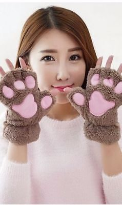 Cat Claw Gloves Costume (Cat Claw Paw Mittens Plush Fingerless Gloves Soft Winter Halloween Costumes)