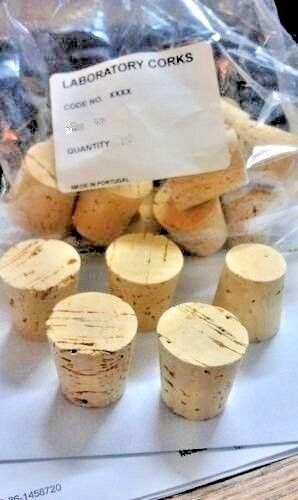 """CORK, Push-In, Tapered, Round Cork Plugs,(5), Size 14, Fits 1-1/4"""" Large End ID"""