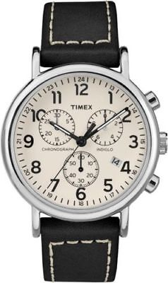 "Timex TW2R42800, ""Weekender"" Black Leather Watch, Chronograph, Indiglo, Date"