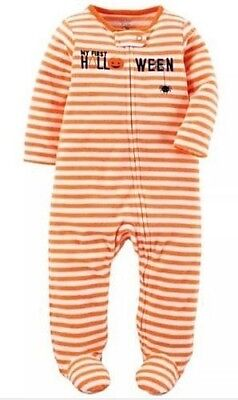 Carters Infants My First Halloween Orange Fleece Sleeper Pumpkin 3M Boy Girl - Babys First Halloween