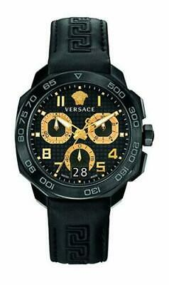 Versace NEW BOX Dylos Men's VQC020015 Black Chronograph Watch Leather Band $2160