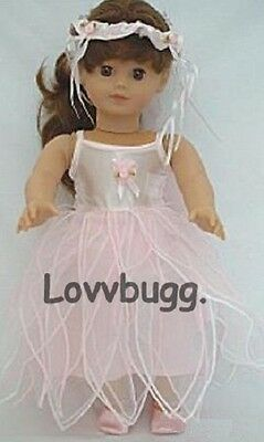 "Lovvbugg Pink Fairy Ballet Tutu Set for 18"" American Girl Doll Clothes"