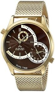 August Steiner Men's Analog Display Quartz Gold Watch
